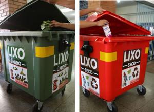 O contêiner verde será usado para depósito de lixo orgânico (úmido) e o vermelho para lixo reciclável. Foto: SECOM
